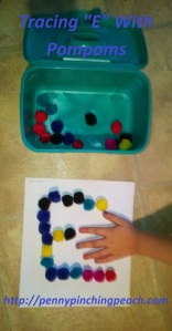 Tracing E With Pompoms
