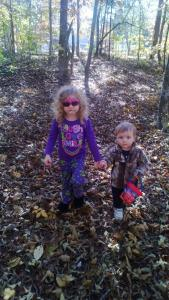 Walking in the woods with Mommy