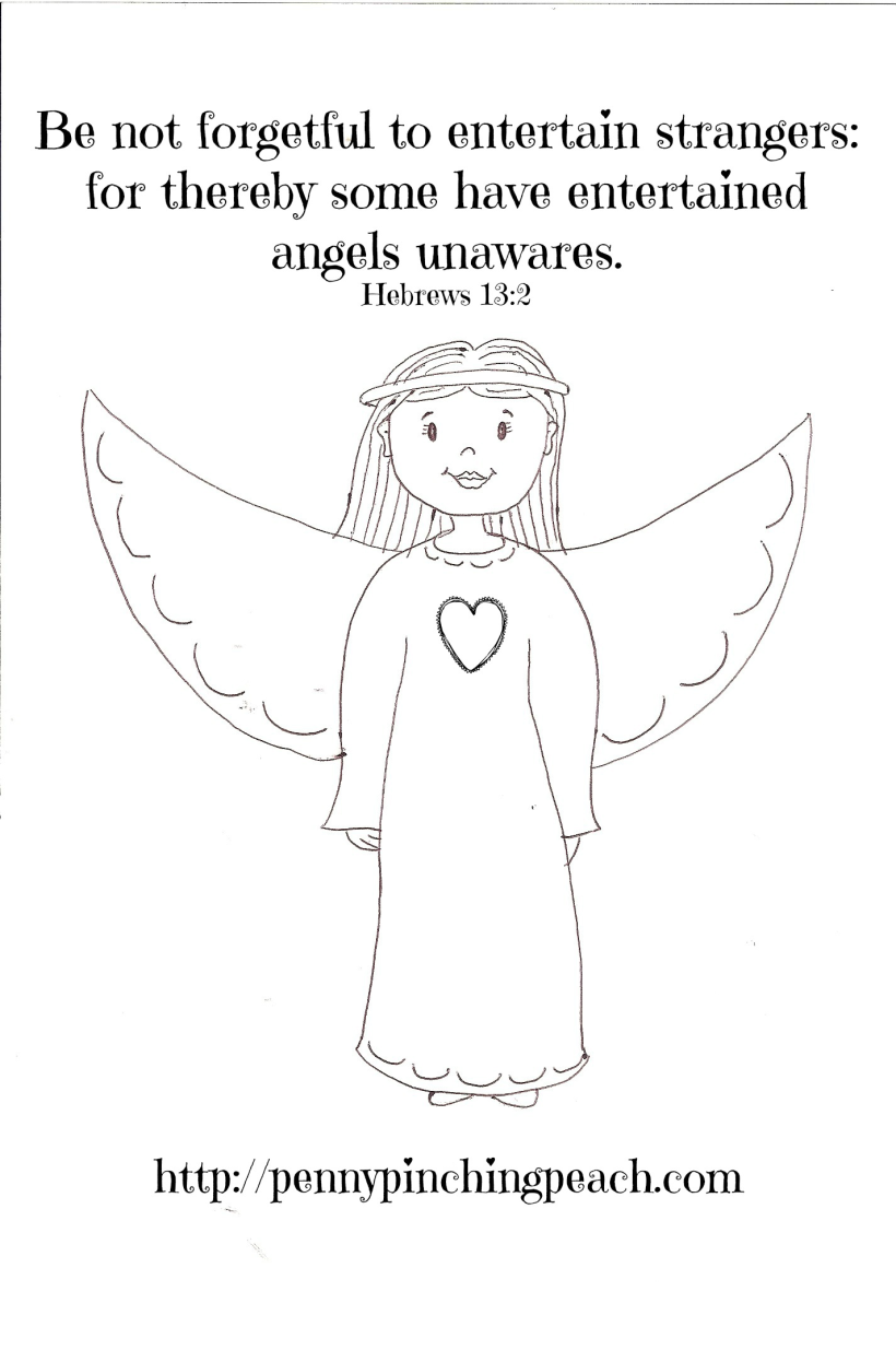 angel scripture verse printable coloring page penny pinching peach